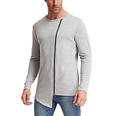 Nice PAUL JONES Men's Irregular Hem Long Sleeve Crew Neck Mental Zipper T-Shirt