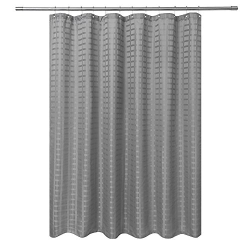(Barossa Design Fabric Shower Curtain Grey (Gray) - Hotel Grade, Water Repellent and Washable - 71 x 72 inches Brick Dobby Pattern for Bathroom)