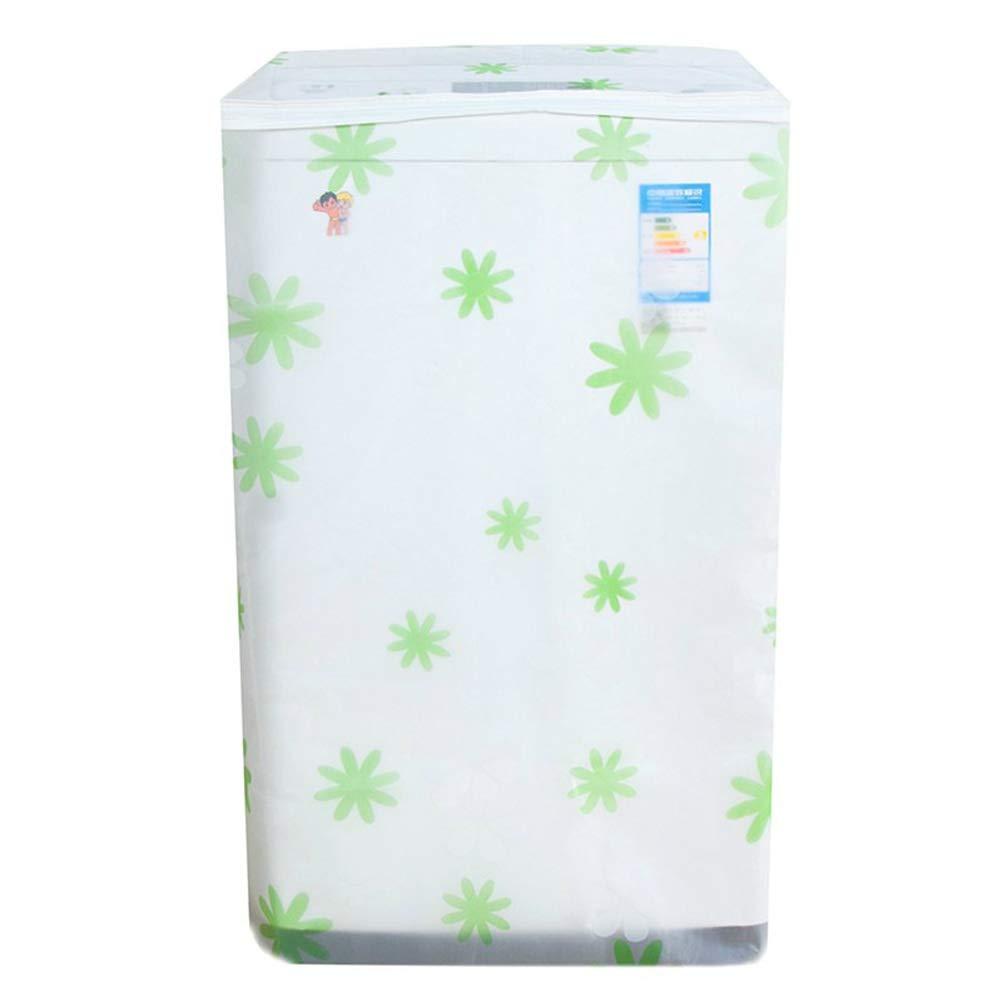 Vosarea Housse de Protection Machine à Laver Chargement Le Haut Lave-Linge Sèche-Linge Étanche (Transparente Motif Hibiscus Vert)