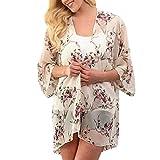 Hotkey Womens Short Sleeve Tops Plus Size Fashion Womens Chiffon Printing Cardigan Smock Easy Blouse Tops Black