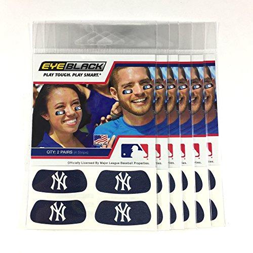 (24 Strips) Eye Black - New York Yankees Blue MLB Eye Black Anti Glare Strips, Great for Fans & Athletes on Game Day ()