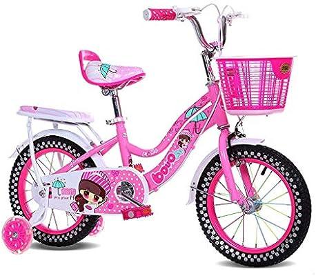 Bicicleta de los niños 12/14 Pulgadas niña portadora de bebé 2-3-4-5 bebé de los años Ciclismo Acero de Alto Carbono, Rosa/Azul/púrpura (Size : 14 Inch Pink): Amazon.es: Deportes y aire libre
