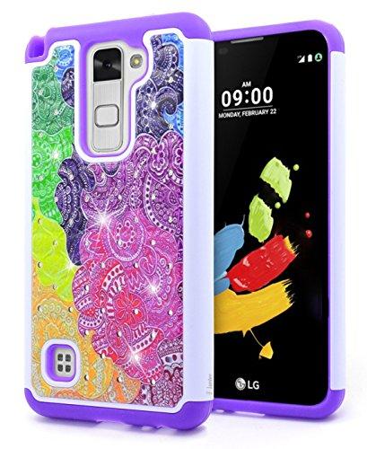 LG Stylo 2 Case, LG Stylo 2 V Case, NageBee [Hybrid Protective] Armor Soft Silicone Cover with [Studded Rhinestone Bling] Design Diamond Glitter Case for LG Stylo 2 / LG Stylo 2 V(Verizon)- Rainbow