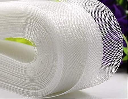 Selling Per Roll 1cm 3//8 Wide,50 Yards ZHONGJIUYUAN Stiff Polyester White Horsehair Braid