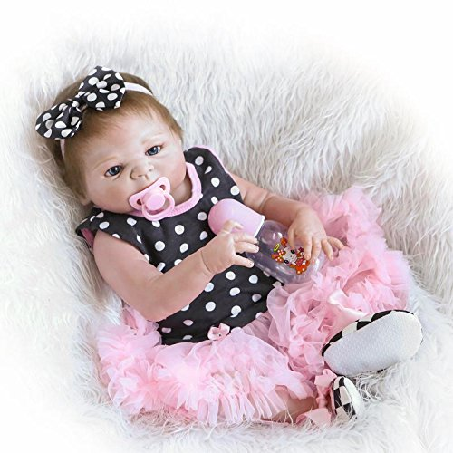 iCradle Handmade 18''45cm Lifelike Realistic Full Silicone Vinyl Silicone Lovely Cute Girl Reborn Baby Dolls Toy Newborn Reborn Doll With Free Magnetic Pacifier Anatomically Correct Kids Xmas Gift