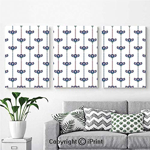 (Canvas Prints Modern Art Framed Wall Mural Ottoman Tiles Inspired Bohem Ethnic Tulip Flowers and Polka Dots Image Decorative for Home Decor 3 Panels,Wall Decorations for Living Room Bedroom Dining R)