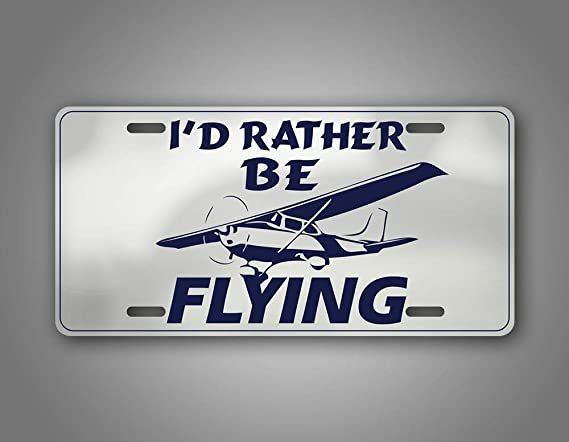 Id Rather Be Flying Pilot Cessna Airplane Black License Plate Frame Auto Car Novelty Accessories License Plate Art