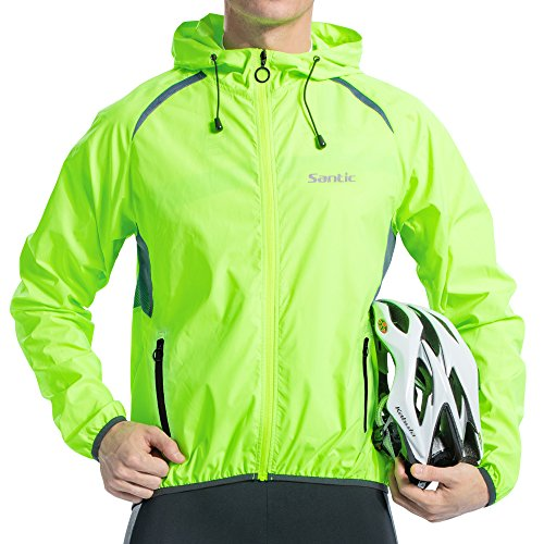 Long Sleeve Wind Jacket - Santic Men's Cycling Jacket Windproof Long Sleeve Wind Jacket Bicycle Coat Hooded Jackets Skin Coat Green