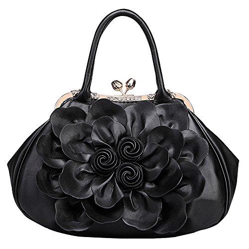 JVPS 125-M 2018 de alta calidad de cuero de LA PU rosa rojo señoras bolso de la flor bolsa de hombro bolsa de marea ocio chica dulce bolsa de moda de gran capacidad popular Negro