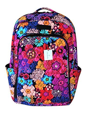 Vera Bradley Laptop Backpack (Updated Version) with Solid Color Interiors (Floral Fiesta with Black Interior) - Solid Quilted Bag