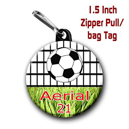 Two Soccer zipper pull bag tags 1.5 inch charms personalized with name -