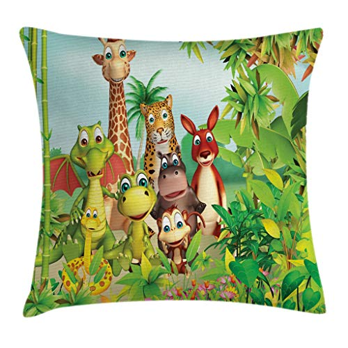 Ambesonne Cartoon Decor Throw Pillow Cushion Cover by, Cute Animals Giraffe Tiger Snake Dinosaur Hippo Monkey in Jungle Kids Baby Theme, Decorative Square Accent Pillow Case, 16 X 16 Inches, Green