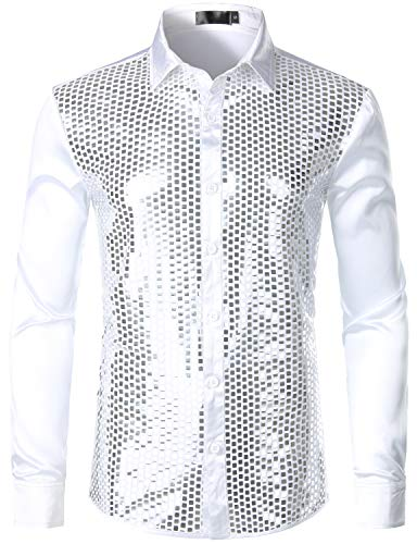 ZEROYAA Men's Shiny Sequin Design 70s Disco Shirt Slim Fit Party Prom Silk Like Satin Dress Shirts ZLCL17-White Silver Large -