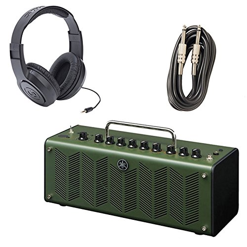 Yamaha THR10X Desktop Modeling High Gain Guitar Amp with Samson SR350 Stereo Headphones and AxcessAbles I-010 Guitar Instrument Cables - 10 Feet