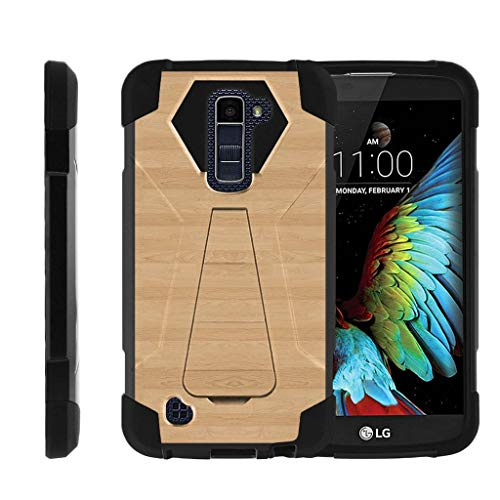 TurtleArmor | Compatible with LG K10 Case | LG Premier Case [Dynamic Shell] Hybrid Dual Layer Hard Shell Kickstand Silicone Case - Maple Wood