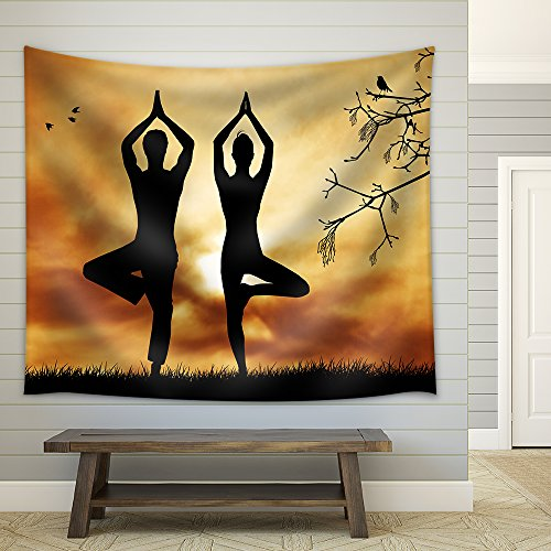 Couple Doing Yoga Fabric Wall Tapestry
