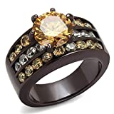 Dark Brown Stainless Steel 4.31 Ct Champagne CZ Engagement Ring Womens Size 9