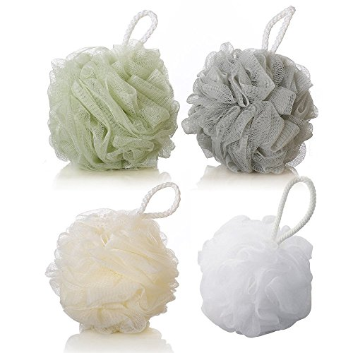 4 Pack Shower Body Sponge, Soft Bath Cleaning Sponges Daily Home Exfoliating Loofah Mesh Pouf Bath Ball with String Large Soft Shower Ball Dead Skin Brush Back Cleaner Bathroom Cleaners (4 Pack) ()