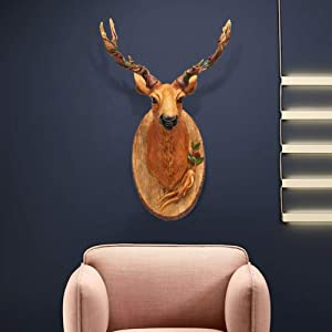 TJZY Wall Sculptures-Deer Head Wall Decoration Wall Mounted Woodland Antlers Male Simulation Resin Wall Hanging Animal Wildlife Home Decor Decoration Statue Ornament Wall Decorations 36
