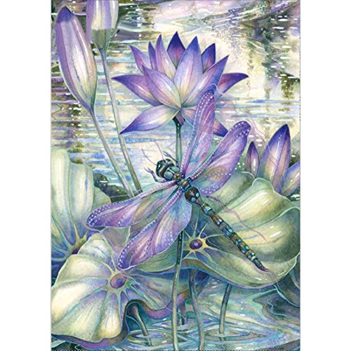 (5D DIY Diamond Painting Kits for Adults Full Drill Rhinestone Embroidery Cross Stitch Arts Craft for Home Decor Dragonfly and Lotus 11.8x15.7in 1 by)
