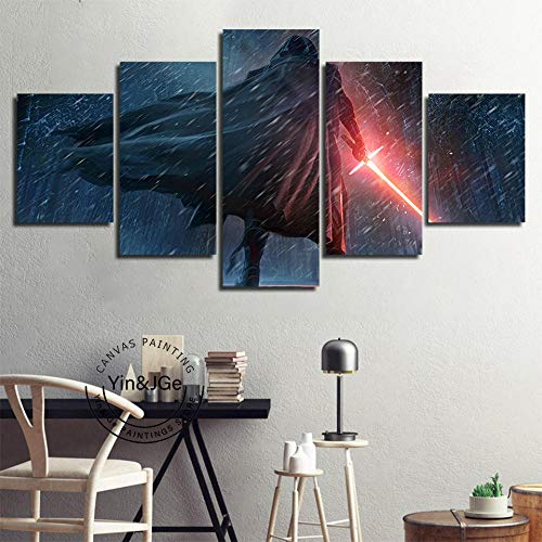 Fbhfbh 3D Canvas Painting, Canvas Painting Printed Kylo Ren Star Wars Poster Wall Art Movie Abstract Picture Home Decor Boy Room Artwork-8 X 14/18/22Inch,with Frame