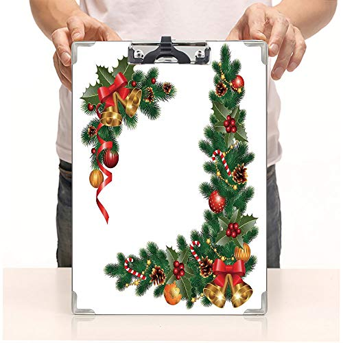 Custom Printing Clipboard,Hardboard Clipboard Pack,Themed Fir Tree with Ornaments Classical New Year,Office School Workers Business use