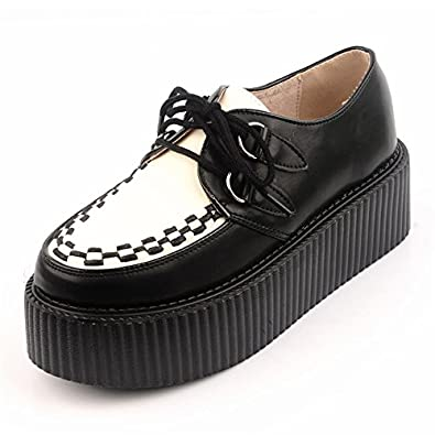 RoseG Femmes Cuir Lacets Plate Forme Gothique Punk Creepers Chaussures 1765061031