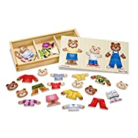 Melissa & Doug Mix 'n Match Wooden Bear Family Dress-Up Puzzle With Storage C...