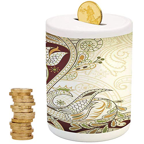 iPrint Ethnic,Money Bank for Kids,Top Slot Porcelain Nursery Décor Baby Bank,Oriental Floral Leaf Pattern with Middle Eastern Effects Design