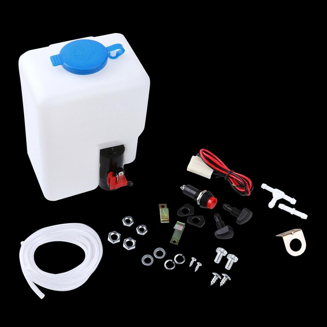 Ecosin Car 12V Universal Windscreen Washer Pump Bottle Kit Cleaning Tools For Classic Cars