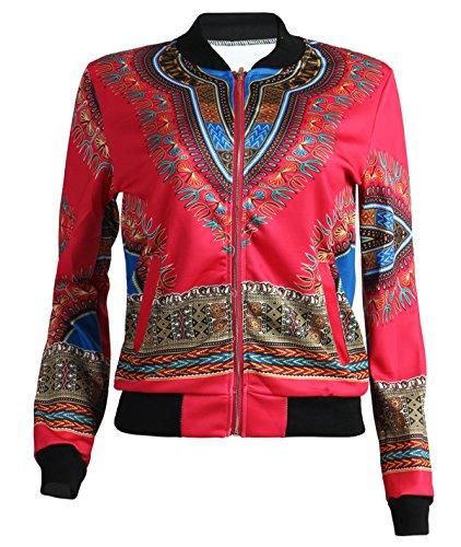 GLADTHINK Femme Africain Dashiki Caftan Culturel Porter Veste 3d Rouge
