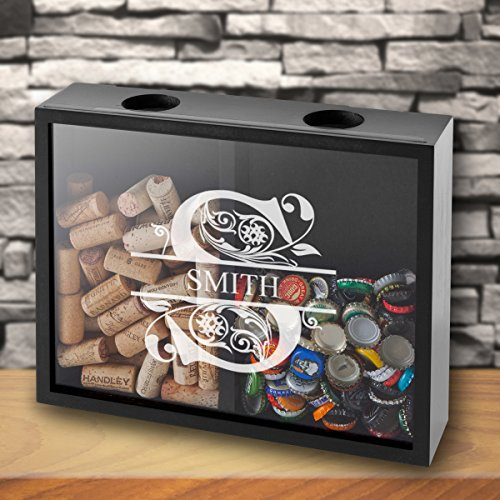 Personalized Double Sided Beer Cap Wine Cork Display Shadow Box - Filigree
