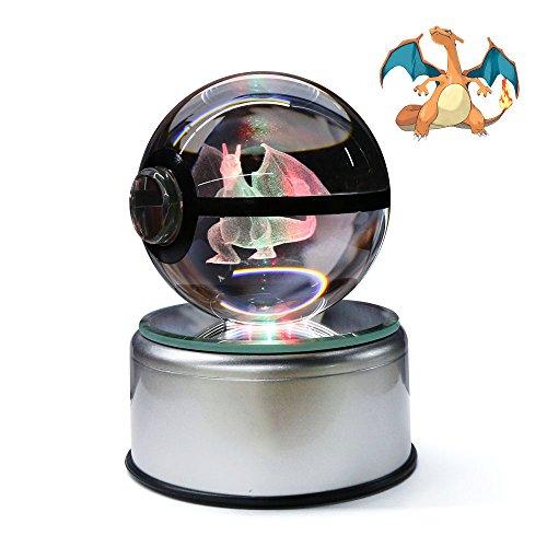 Crystal Pokeball 3D Go Ku Crystal Ball Night 7 LED Color Changing Inspire Engraved (Charizard)
