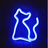 (Blue Cat) - Cat Shaped Neon Signs Led Neon Light Art Decorative Lights Wall Decor for Children Baby Room Christmas…