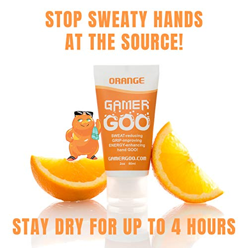 Gamer Goo Antiperspirant Dry Grip for Sweaty Hands - - Anti Sweat Hand Lotion - - FDA-Approved Ingredients, Non Sticky, Non-Toxic, TSA Travel Safe, Made in USA - 2 oz. (60mL) (Orange, 1 Pack)