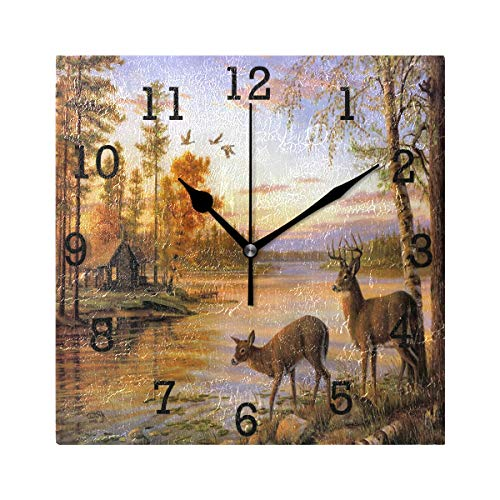 Anmarco Peaceful Log Cabin Deer Flying Bird Square Wall Clock, Non Ticking Digital Quiet Sweep Decorative Clocks for Kitchen Bedroom Living Room