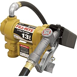 Fill-Rite SD1202 Fuel Transfer Pump, Telescoping Suction Pipe, 10\' Delivery Hose, Manual Release Nozzle - 12 Volt, 13 GPM