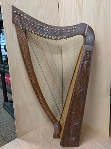 Harp 22 Strings with Levers Hand Engraved With free Tuner , Carrying Case and Extra Strings by Royal