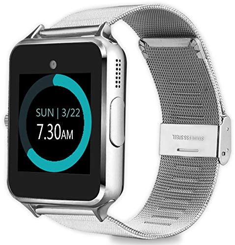 MyTECH Z60 Smart Watch Bluetooth Steel Strap Touchscreen with Camera, Watch Phone Sim Card Slot,Smart Wrist Watch,Smartwatch Phone Compatible Android ...