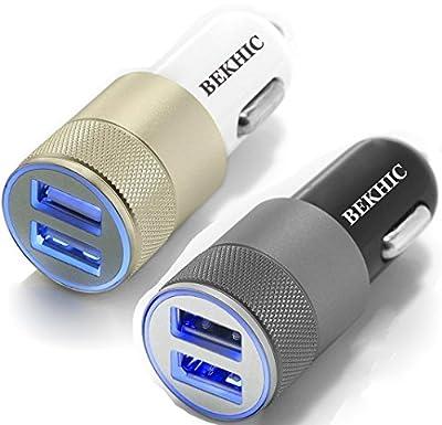 2Pcs Bekhic 12V-24V 2 Port 3.1 Dual USB Car Charger + 2in1 usb cable by Bekhic
