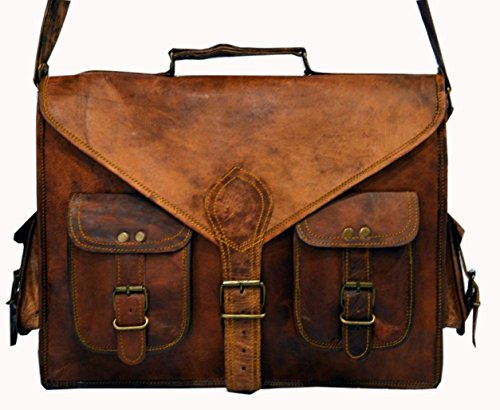 HLC ABB 19 Inch Vintage Handmade Leather Messenger Bag for Laptop Briefcase Satchel Bag ()