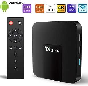 YPSMLYY Nuovo S905W Android 8.1 Network Smart TV Box TX3 (2RAM + 16GB ROM) Quad Core Cortex-A53 con Multimedia TV HD Ultra 2.4GHz / H.265 4K: Amazon.es: Hogar