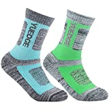 YUEDGE Women's 2 Pairs Wicking Cushion Casual Crew Socks Performance Athletic Hiking Socks (L)