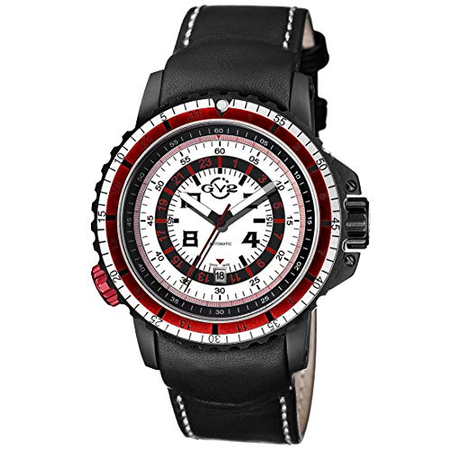 GV2 by Gevril Men's Contasecondi Stainless Steel Swiss Automatic Watch with Leather Strap, Black, 45.5 (Model: 3504)
