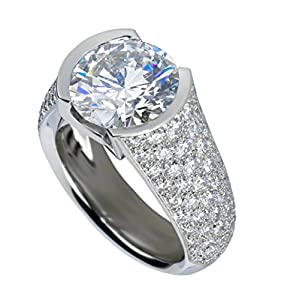 Enhanced Diamond(VS) 4.63Ct Majestic CVD Coated Diamond Engagement Ring 14k White Gold Wedding Anniversary Ring