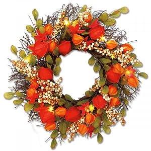 "Lighted Lantern Flower Autumn Wreath - 17"" diameter Fabric Flower Wreath, Rattan Base 110"
