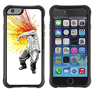 Hybrid Anti-Shock Defend Case for Apple iPhone 6 4.7 Inch / Cool Head Explosion Painting