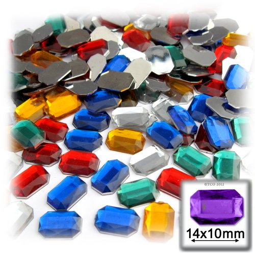 The Crafts Outlet 144-Piece Quality Acrylic Aluminum Foil Flat Back Octagon Rectangle Rhinestones, 10 by 14mm, Mixed Colors