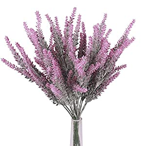 JAROWN 4pcs Artificial Lavender Flowers Fake Bouquet Plastic Stems Arrangement for Bridal Home Garden Wedding Scene (Pink) 7