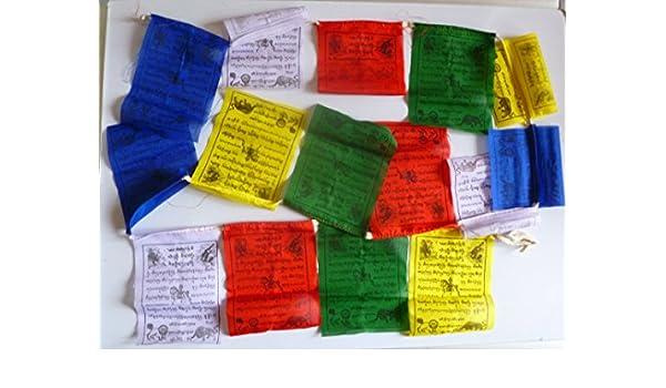 Banderas de oración tibetana pequeñas Lungta (viento caballo) un rollo de con 15 banderas: Amazon.es: Jardín